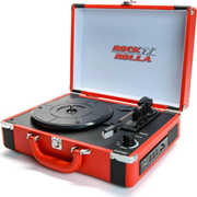 Rock 'n' Rolla Premium Rechargeable Portable Briefcase Turntable w/ Bluetooth - Red / Black