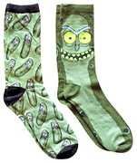 Rick & Morty Green Pickle Unisex 2 Pair 2PK Casual Crew Socks Men's Shoe Size 6-12