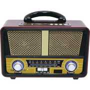 QFX RETRO90 Retro Bluetooth AM FM SW 3 BAND Desktop Radio USB TF MP3Player Brown