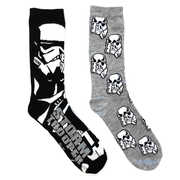 Star Wars Black Storm Trooper Unisex 2 Pair 2PK Casual Crew Socks Men's Shoe Size 6-12