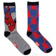 Spider-Man Heather Grey Men's /  Unisex 2 Pair 2PK Casual Crew Socks Men's 6-12