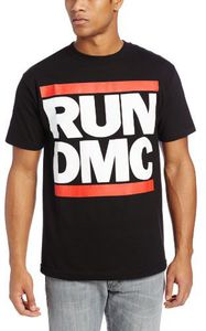 Run D.M.C. Logo (Mens /  Unisex Adult T-Shirt) Black, SS [Small] Front Print Only