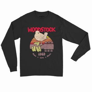 Woodstock Bird & Guitar 1969 Peace Love Music Logo Black Long SleeveT-Shirt (2XL)