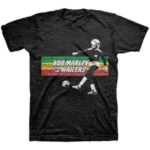 Bob Marley Soccer Rasta Stripe (Mens /  Unisex Adult T-shirt) Black SS [Small] Front Print Only