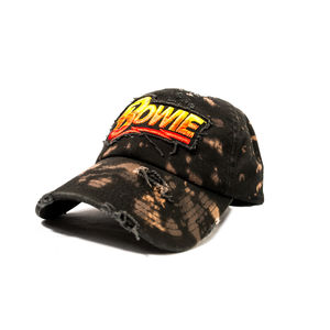 David Bowie Lightning Bolt Logo Distressed Snapback Baseball Cap