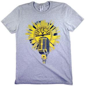 Sun Records Vintage Microphone Heather Grey Unisex Adult Short SleeveTee Shirt (Large)