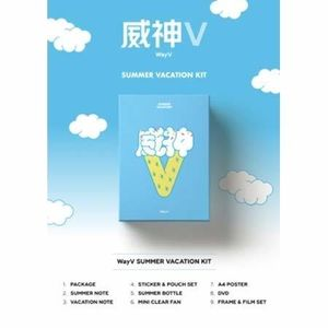 2019 WayV Summer Vacation Kit (Incl. 80pg Summer Note, 80pg VacationNote, Sticker & Pouch Set, Summer Bottle, Mini Clear Fan, A4 Poster,Frame & Film Set) [Import]