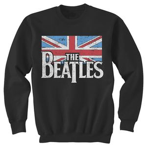 The Beatles British Flag Distressed Crew (Mens /  Unisex Adult Sweatshirt) Black LS [Small] Front Print Only