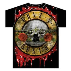 Guns N' Roses Bloody Bullet (Mens /  Unisex Adult T-Shirt) Black, SS [XL] Front Print Only
