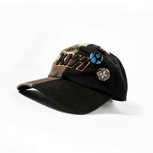 Kiss Logo Half Black Half Camouflage Snapback Baseball Cap