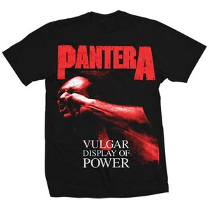 Pantera Red Vulgar Display Of Power (Mens /  Unisex Adult T-Shirt) Black, SS [Large] Front Print Only