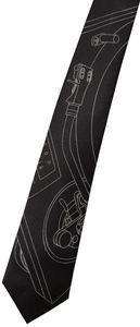 Turntable Tonearm Necktie - Narrow Size - Dove Gray On Black -Microfiber