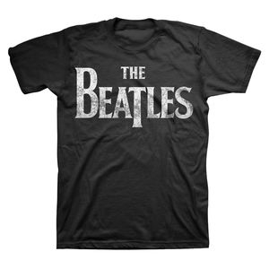 The Beatles Distressed Vintage Drop T Logo (Mens /  Unisex Adult T-shirt) Black, US [Small], Front Print Only