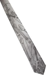 Electric Guitar Necktie - Narrow Size - Black On Silver - Microfiber