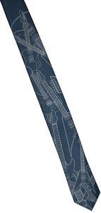 Electric Guitar Necktie- Narrow Size - Pale Gray On Peacock Blue -Microfiber
