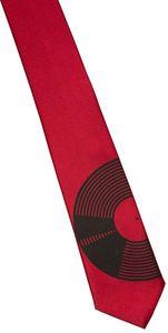 Vinyl Record Necktie - Narrow Size - Black On Red - Microfiber