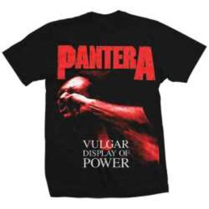 Pantera Red Vulgar Display Of Power (Mens /  Unisex Adult T-Shirt) Black, SS [XXL] Front Print Only