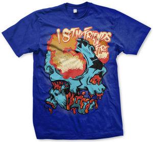 Burning Skull Mens T-Shirt Blue - S