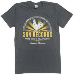Sun Records Where Rock N Roll Was Born! Memphis, Tennessee CharcoalGrey Unisex Adult Short Sleeve Tee Shirt (Large)