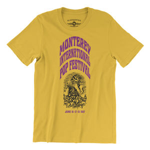 Monterey International Pop Festival Ltd. Edition Maize YellowLightweight Vintage Style T-Shirt (Large)
