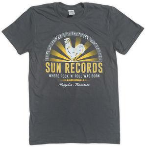 Sun Records Where Rock N Roll Was Born! Memphis, Tennessee CharcoalGrey Unisex Adult Short Sleeve Tee Shirt (XL)