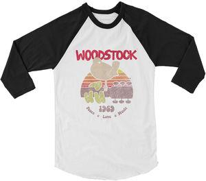 Woodstock Bird & Guitar 1969 Peace Love Music Logo Black & WhiteBaseball T-Shirt (Large)