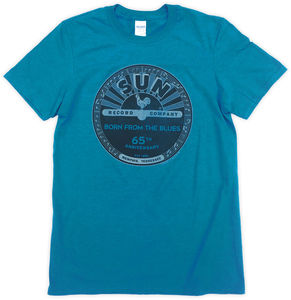 Sun Record Company Born From The Blues 65th Anniversary AntiqueSapphire Unisex Adult Short Sleeve Tee Shirt (Large)