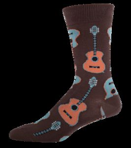 Guitar Crew Socks Men's 10-13 Brown 1 Pair