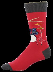 Drum Solo Crew Socks Men's 10-13 Red 1 Pair