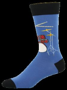 Drum Solo Crew Socks Men's 10-13 Blue 1 Pair