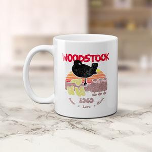 Woodstock Bird & Guitar 1969 Peace Love Music Logo 11 Oz Coffee Mug