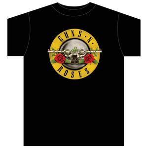 Guns N' Roses Bullet Logo T-Shirt (Mens /  Unisex Adult T-Shirt) Black, US [Large], Front Print Only