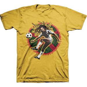 Bob Marley Socccer Kick (Mens /  Unisex Adult T-shirt) Yellow SS [Small] Front Print Only