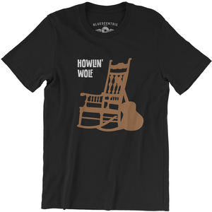 Howlin' Wolf Rockin Chair Black Lightweight Vintage Style Cotton T-Shirt (Large)
