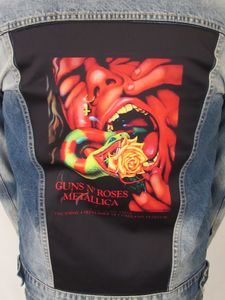 Guns N Roses & Metallica Serpent Scream Blue Jean Jacket (Men's XXL)