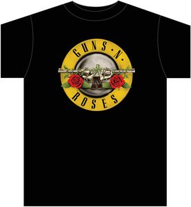 Guns N' Roses Bullet Logo T-Shirt (Mens /  Unisex Adult T-Shirt) Black, US [XXL], Front Print Only