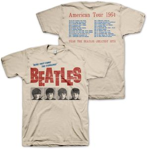 The Beatles 'Here They Come The Fabulous Beatles' American Tour 1964 With Tour Dates & Cities On Back (Mens /  Unisex Adult T-shirt) Creme, US [Medium], Front & Back Artwork