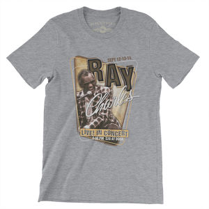 Ray Charles Live! In Concert Poster Gray Lightweight Vintage Style Cotton T-Shirt (Large)