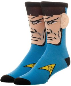 Star Trek Spock Crew Socks With Ears Men's 8-12