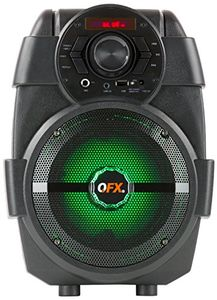 QFX PBX5 Bluetooth Rechargeable PA Party Speaker 6.5 Inch Woofer USBFM PLAYER LED Lights Black