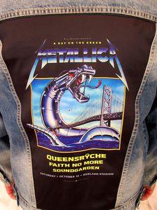 Metallica, Queensryche Iron Snake On The Bridge Blue Jean Jacket(Men's XL)