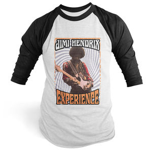 Jimi Hendrix Experience 1968 White & Black Baseball T-Shirt (XXL)