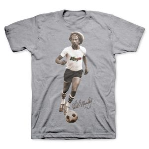 Bob Marley Kaya Soccer (Mens /  Unisex Adult T-shirt) Grey SS [Medium] Front Print Only