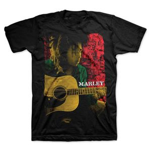 Bob Marley Colored Pose With AcoSStic Guitar (Mens /  Unisex Adult T-shirt) Black SS [Large] Front Print Only