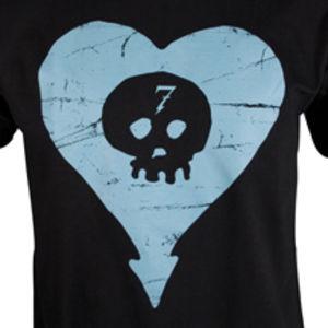Blue Heartskull Slim Fit T-Shirt Black - S