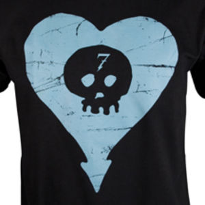 Blue Heartskull Slim Fit T-Shirt Black - S