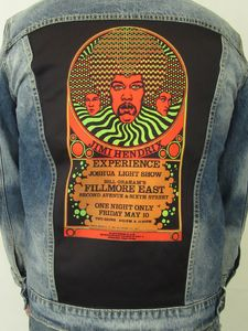 Jimi Hendrix Experience 3 Faces Fillmore East Psychedelic Blue JeanJacket (Men's XL)
