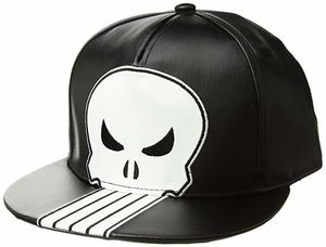 Punisher Black & White Embroidered Snapback Baseball Cap
