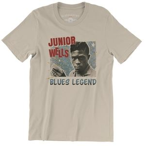 Junior Wells Blues Legend Cream Lightweight Vintage Style T-Shirt (XL)