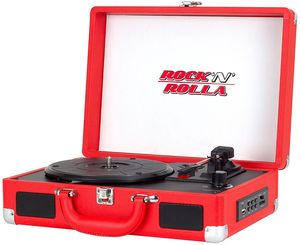 Rock 'N' Rolla Jr. - Portable Briefcase Bluetooth USB Vinyl Record Player Turntable - Red